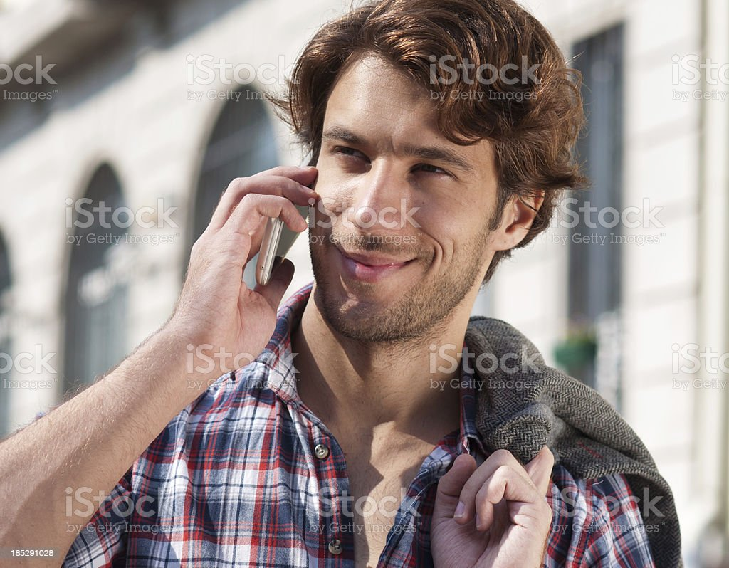 handsome man on  cell phone royalty-free stock photo