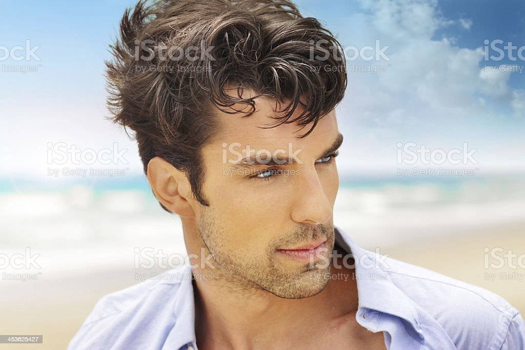 Handsome man outdoors stock photo
