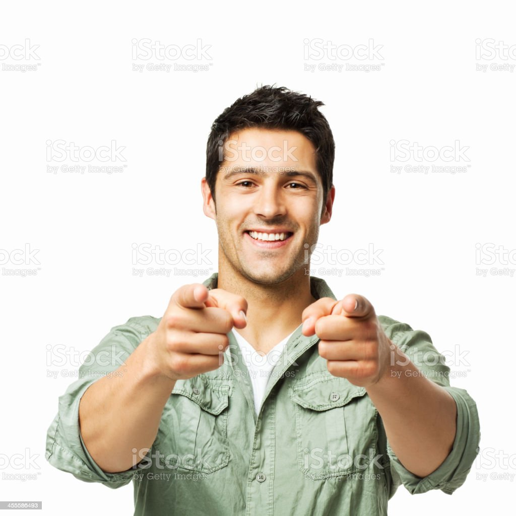 Handsome Man Pointing Towards the Camera - Isolated royalty-free stock photo