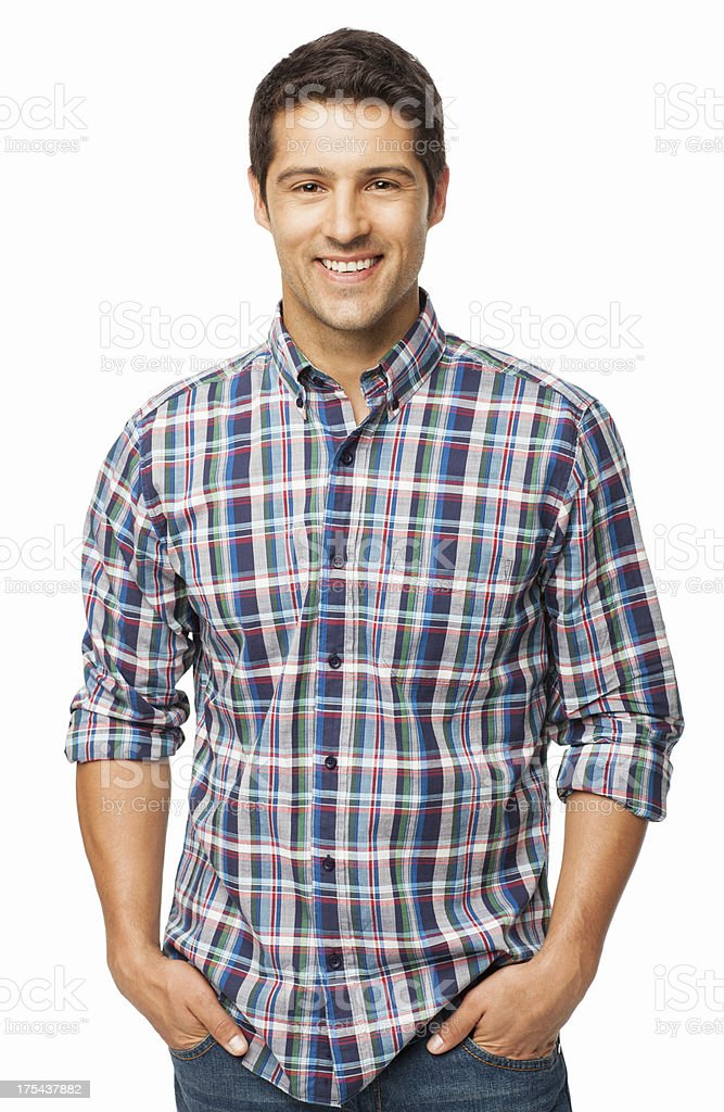 Handsome Man Standing With Hands In Pockets - Isolated stock photo
