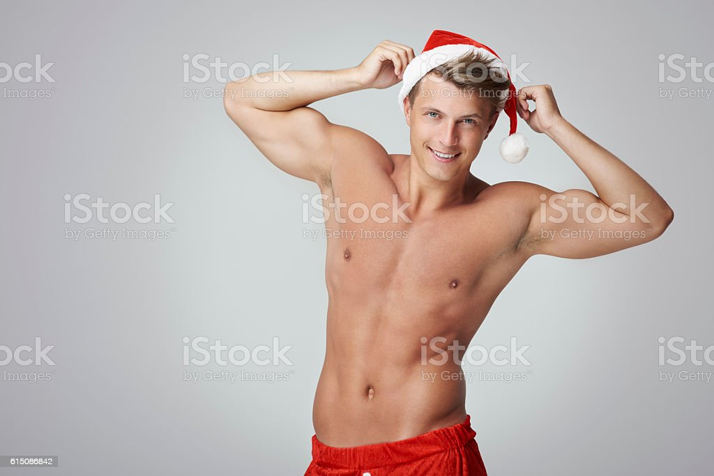 Handsome man stretching his arms stock photo