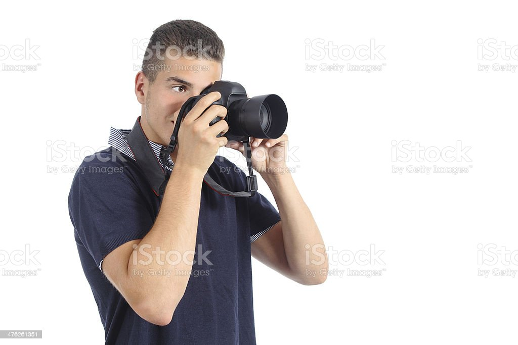 Handsome man taking photography with a slr camera royalty-free stock photo