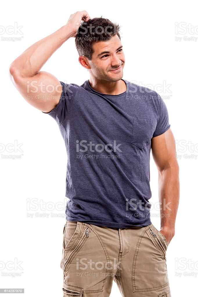 Handsome man thinking stock photo