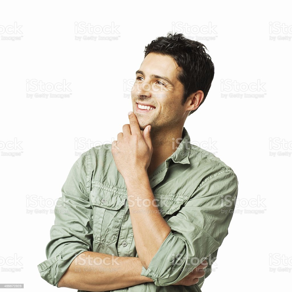 Handsome Man Thinking to the Side - Isolated stock photo