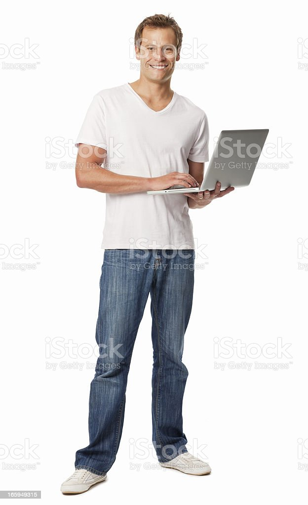 Handsome Man Using Laptop - Isolated royalty-free stock photo