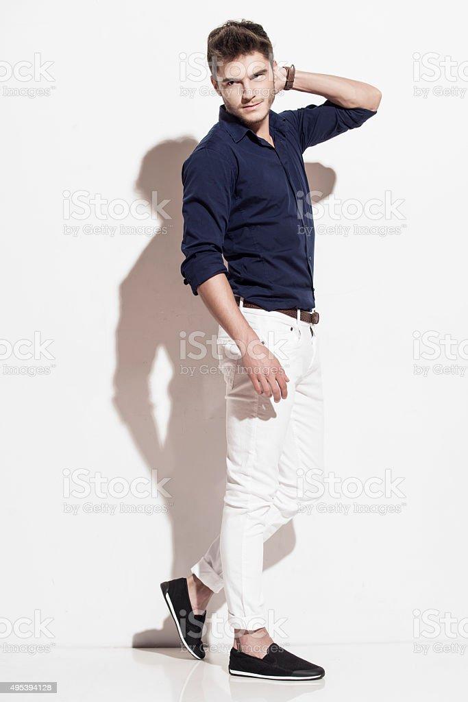 Handsome man walking stock photo