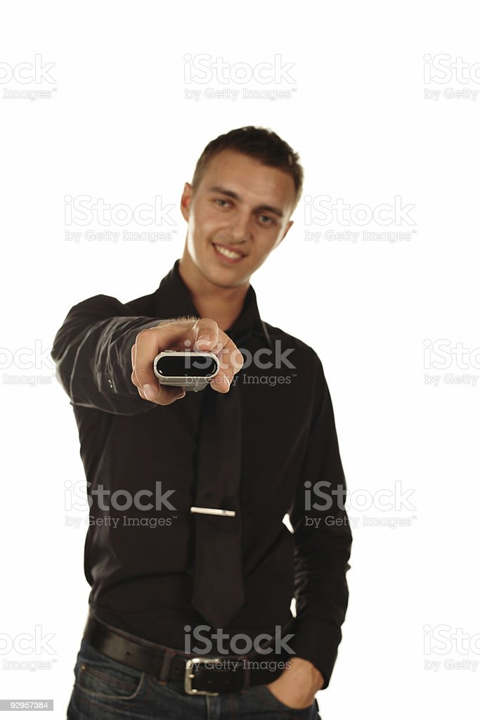 Handsome Man Watching TV royalty-free stock photo