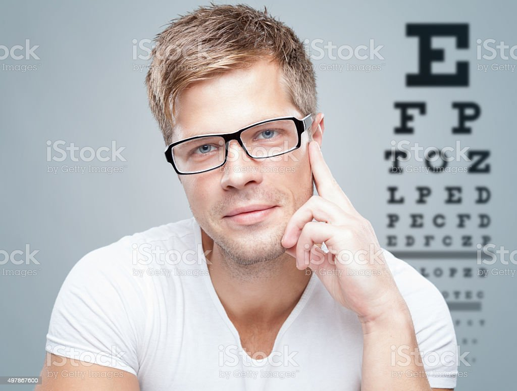 Handsome man wearing glasses stock photo