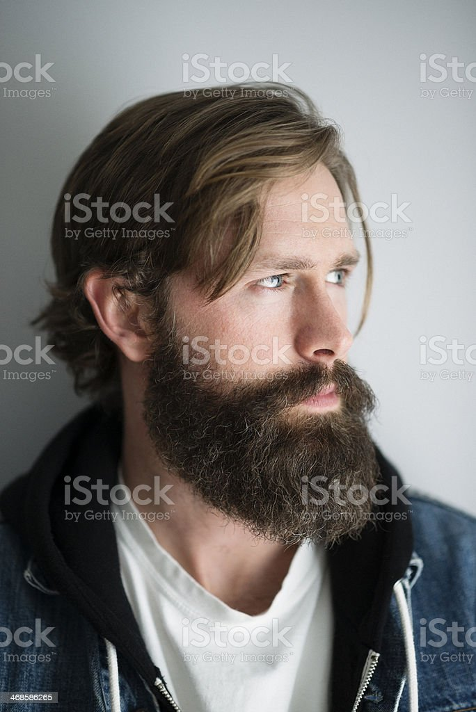 Handsome Man with a full beard stock photo