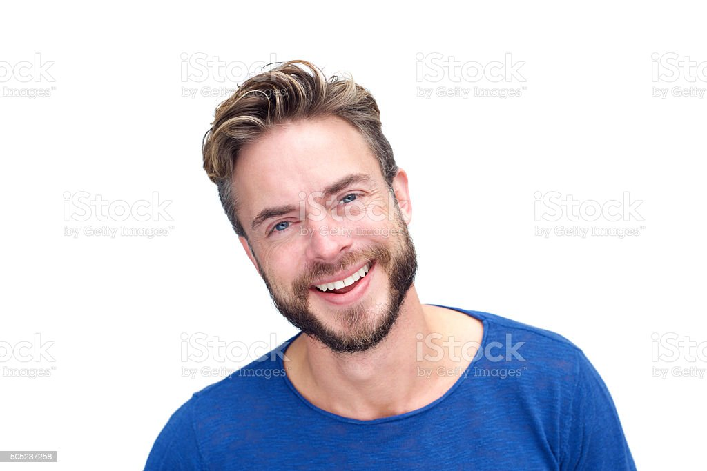 Handsome man with beard laughing stock photo