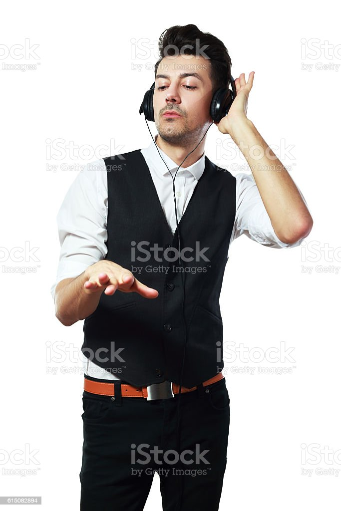 Handsome man with headphones stock photo