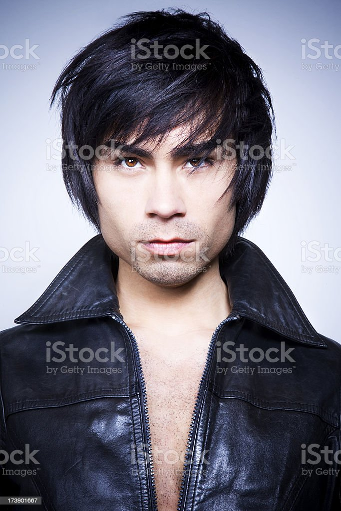 Handsome man with leather jacket royalty-free stock photo