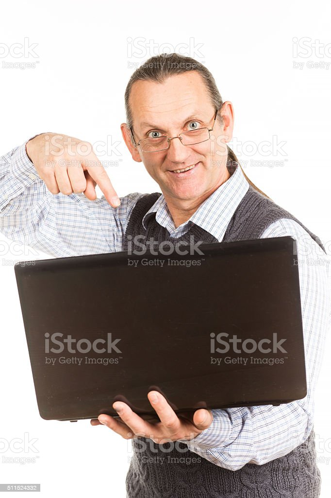 Handsome man with the tablet manager. stock photo