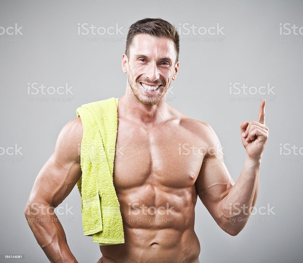 Handsome man with towel royalty-free stock photo