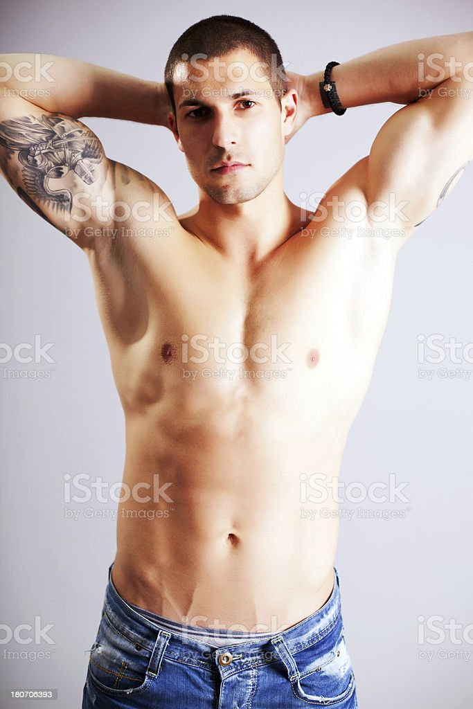 Handsome man without a shirt. royalty-free stock photo