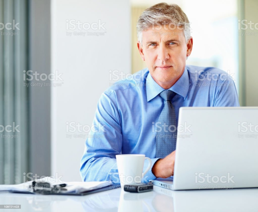 Handsome mature business man using a laptop at work royalty-free stock photo