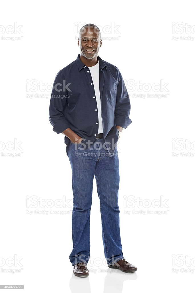 Handsome mature man in casuals posing over white stock photo