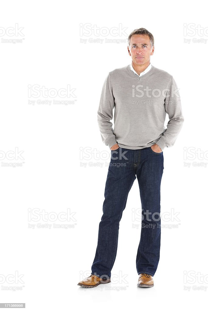 Handsome mature man posing on white background royalty-free stock photo