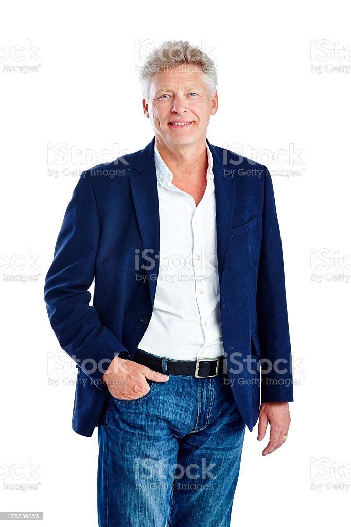 Handsome mature man posing on white stock photo