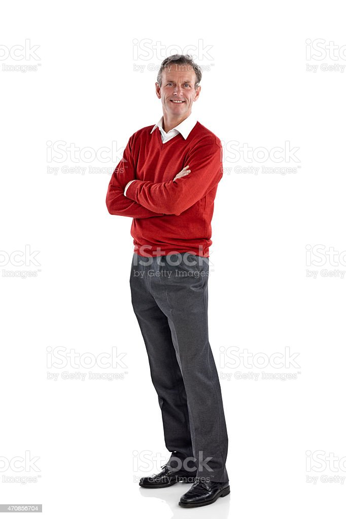 Handsome mature man posing over white stock photo