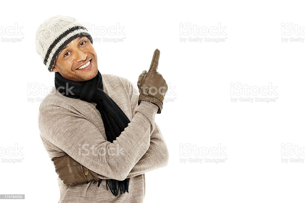 Handsome mature man showing copyspace against white royalty-free stock photo