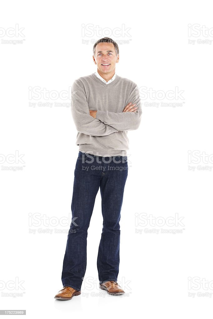 Handsome mature man standing with his arms crossed on white royalty-free stock photo