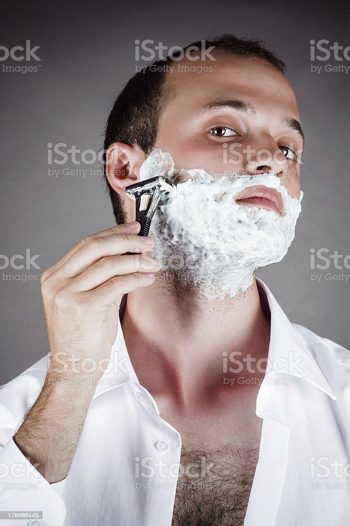 handsome men for shaving royalty-free stock photo