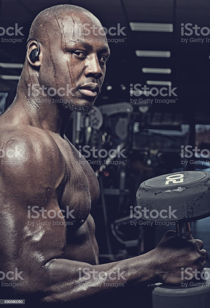 Handsome muscled black male exercising with weights in a gym stock photo