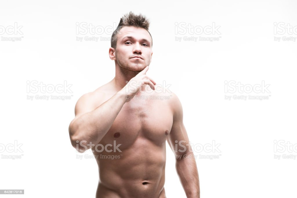 Handsome muscular bodybuilder isolated on white background stock photo
