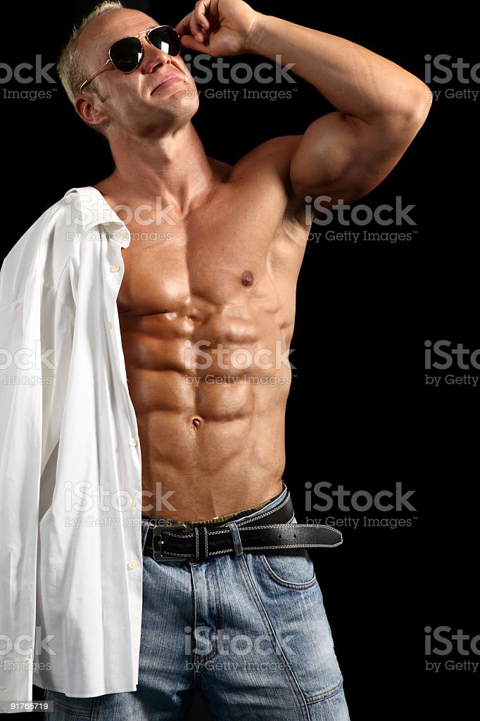 Handsome muscular shirtless man royalty-free stock photo