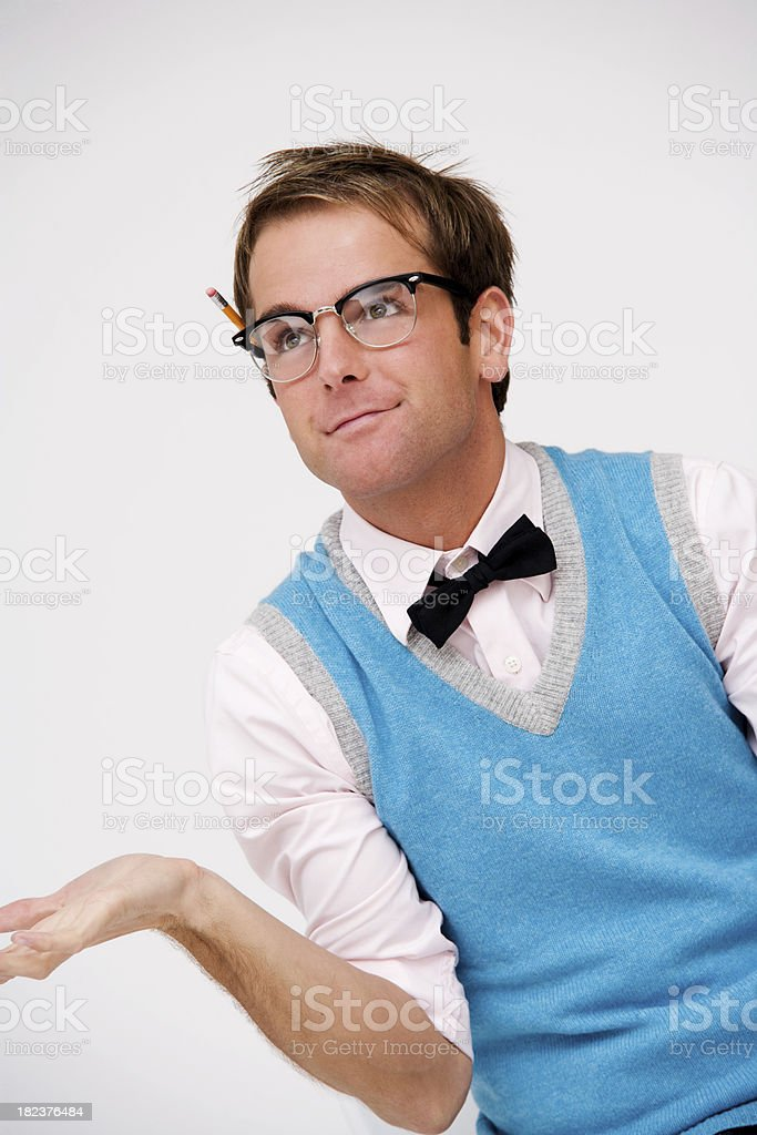 Handsome Nerd Shrugging royalty-free stock photo