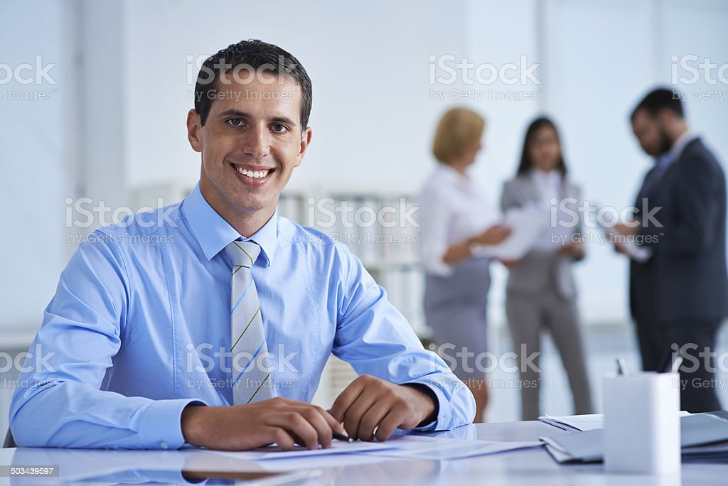 Handsome office worker stock photo