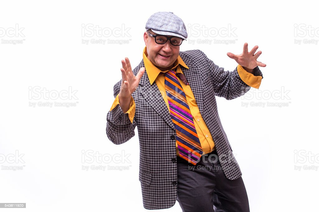 Handsome old male singer stock photo