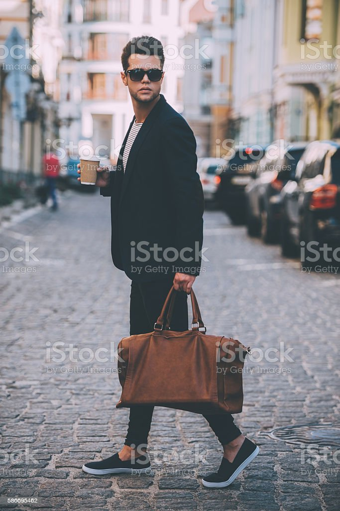 Handsome on the go. stock photo