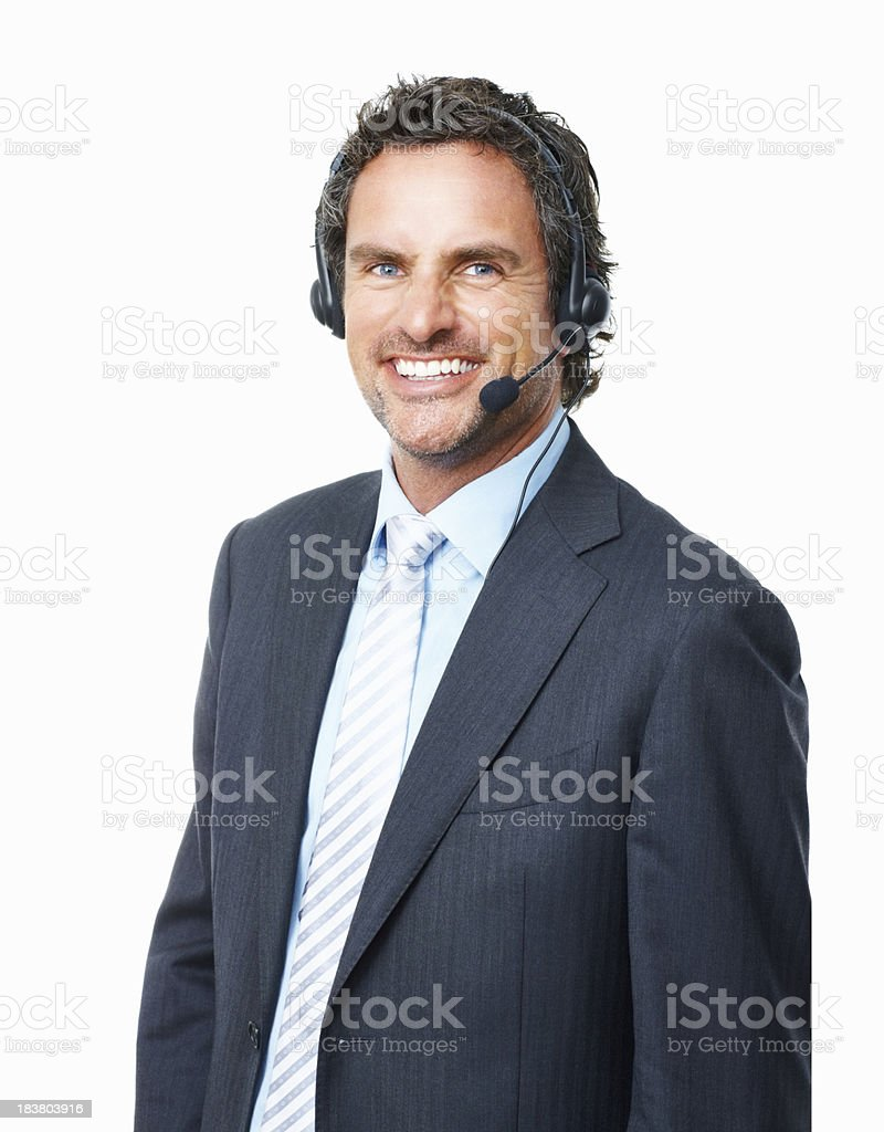 Handsome operator smiling royalty-free stock photo