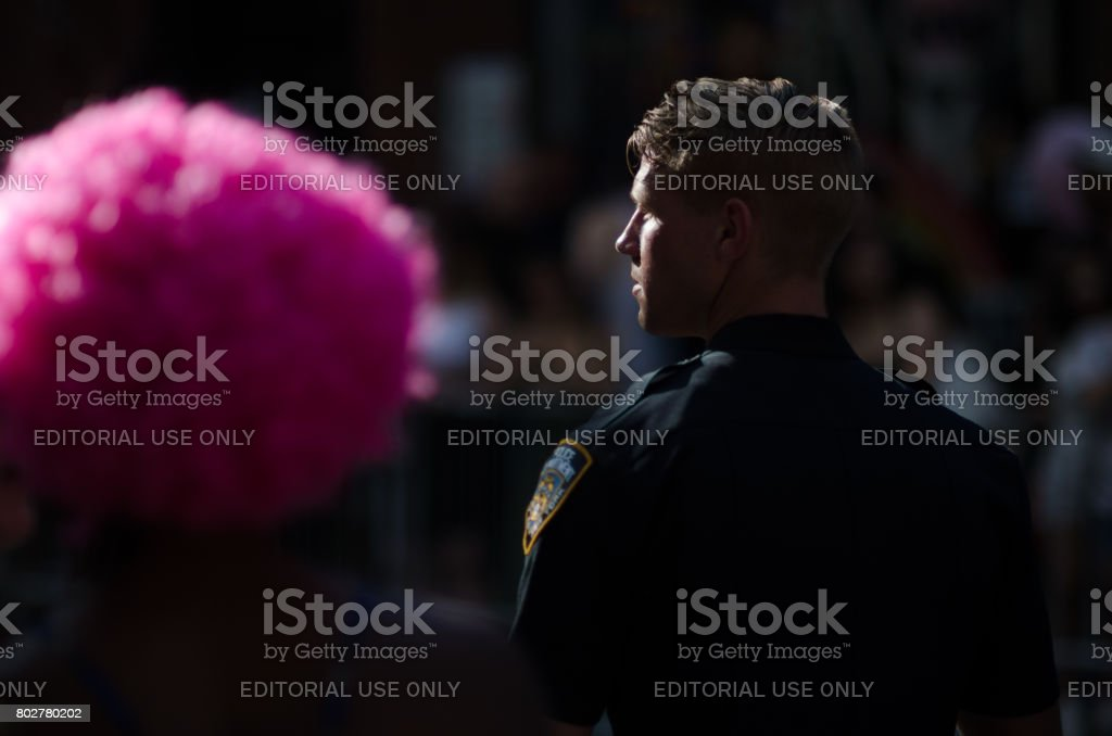 Handsome Policeman Gay Pride Parade New York City stock photo