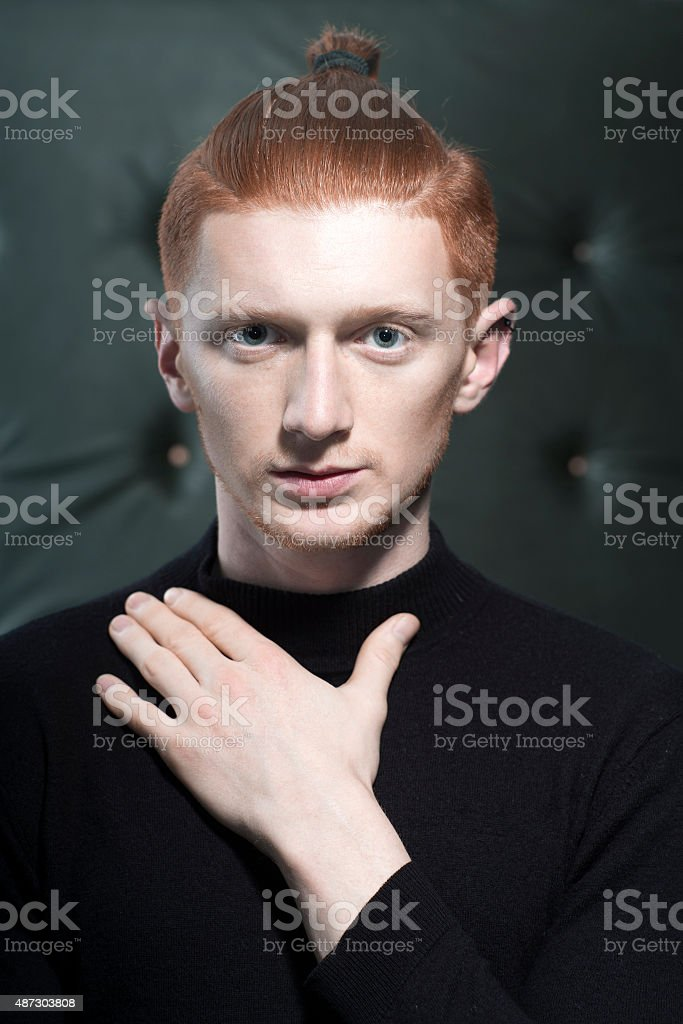 Handsome red man stock photo