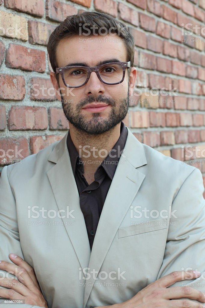 Handsome seductive businessman with glasses flirting stock photo