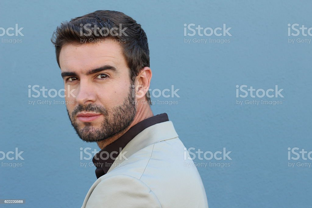 Handsome seductive man flirting with you stock photo