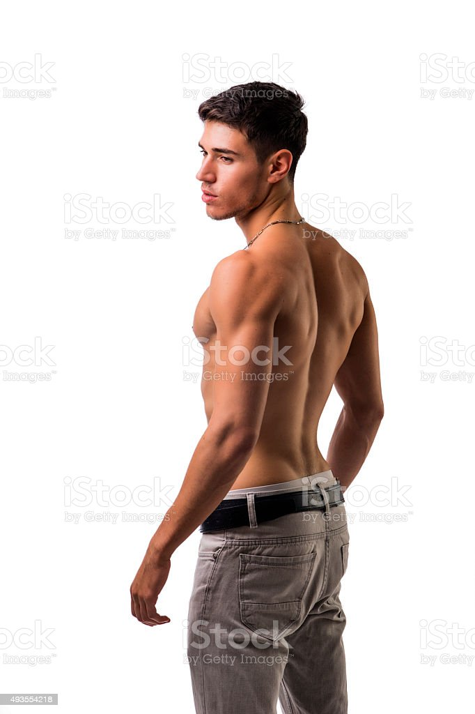 Handsome shirtless athletic young man on white stock photo