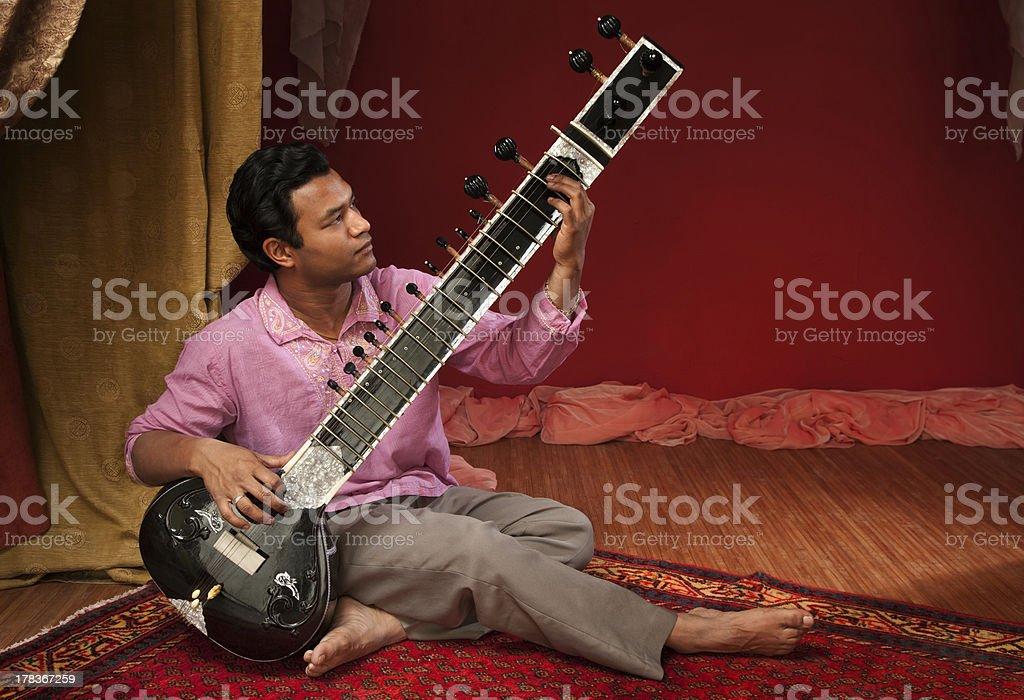 Handsome Sitar Player stock photo