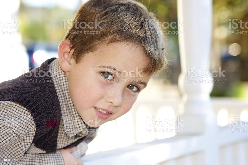 Handsome Six Year Old Boy Outdoors royalty-free stock photo