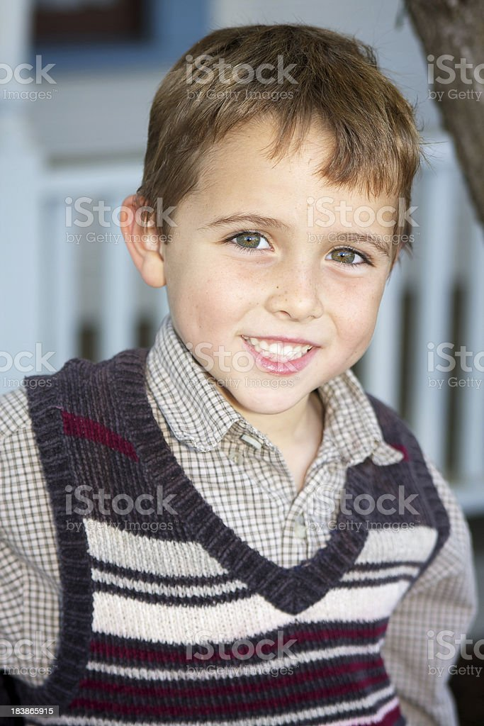 Handsome Six Year Old Boy Outdoors Smiling royalty-free stock photo