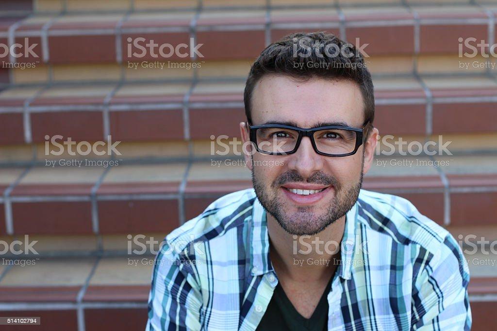 Handsome smiling confident businessman portrait stock photo