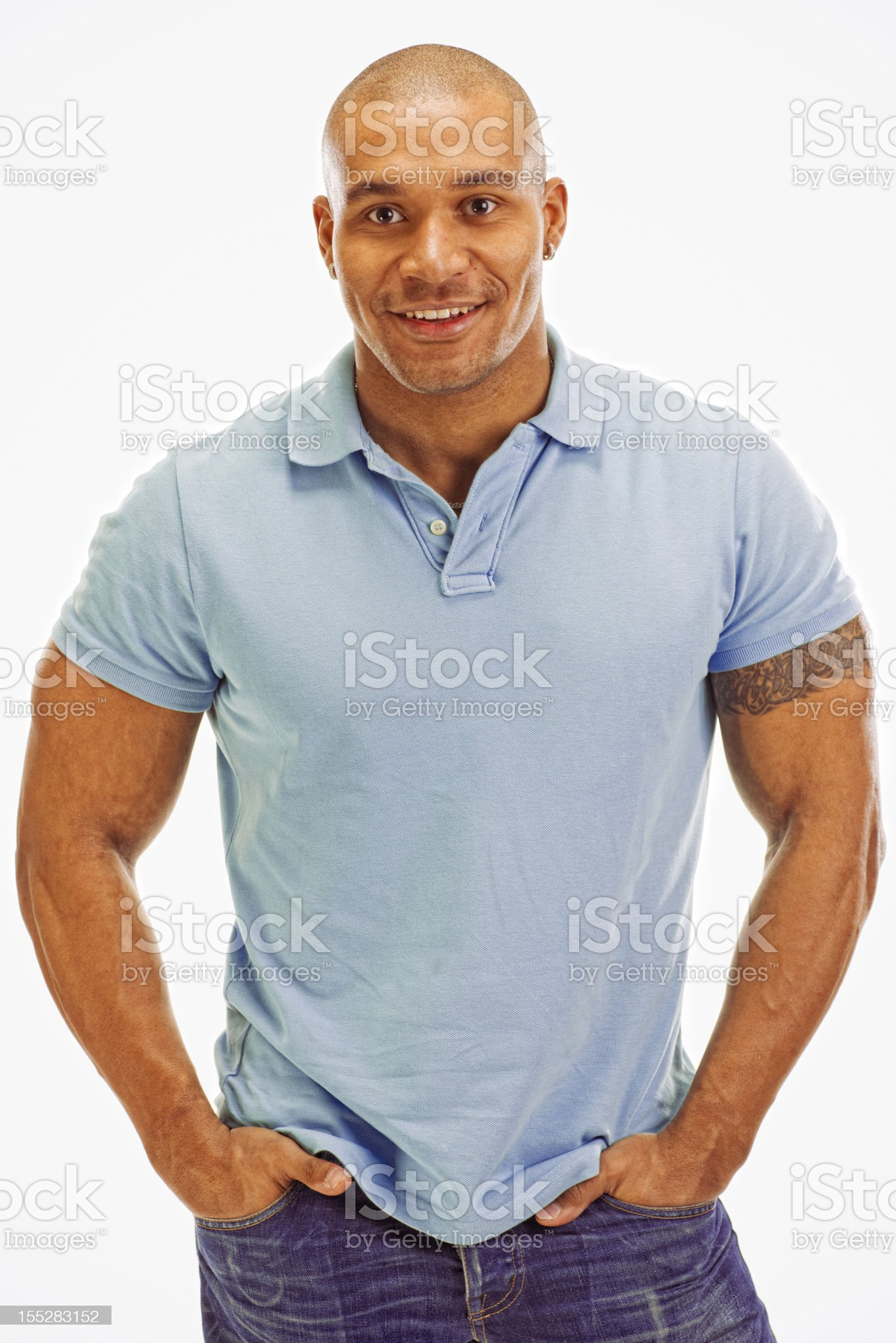 Handsome Smiling Young Man on white background royalty-free stock photo