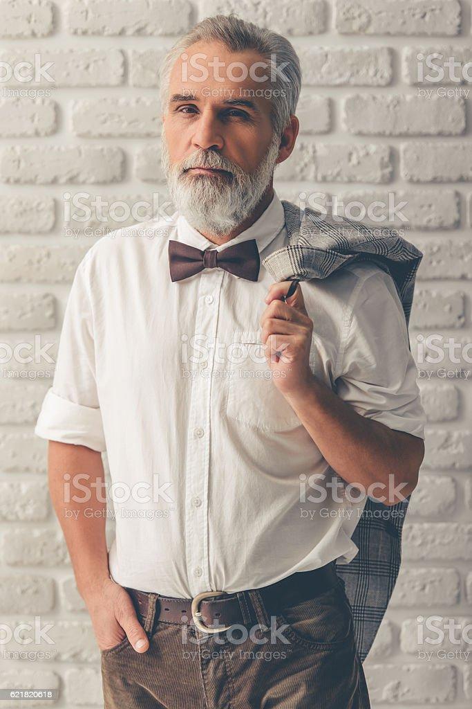 Handsome stylish mature man stock photo