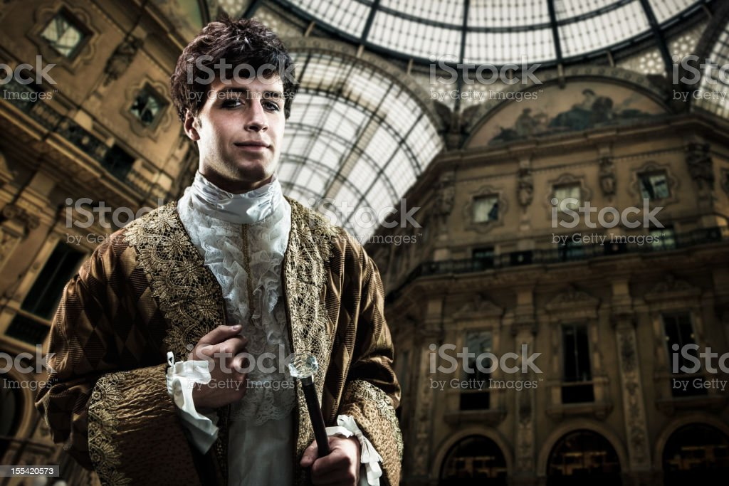 Handsome Victorian Lord on inside european palace royalty-free stock photo