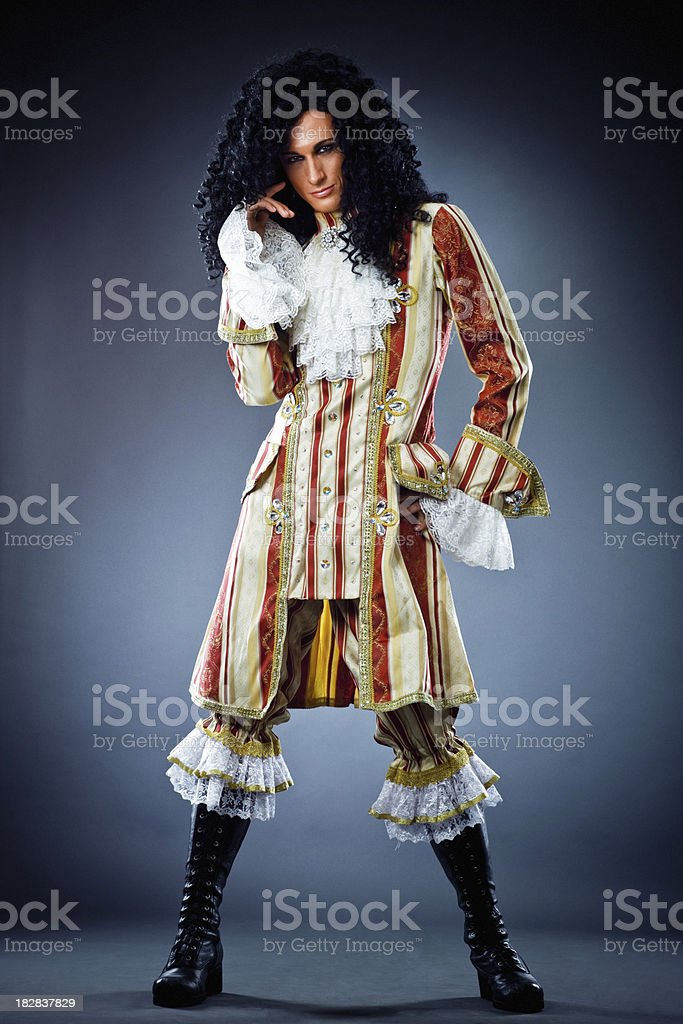 Handsome Young Actor in stage costume stock photo