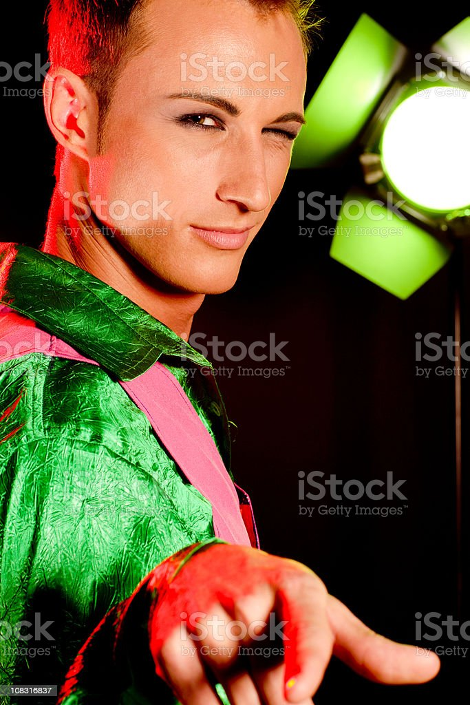 Handsome Young Actor on stage stock photo