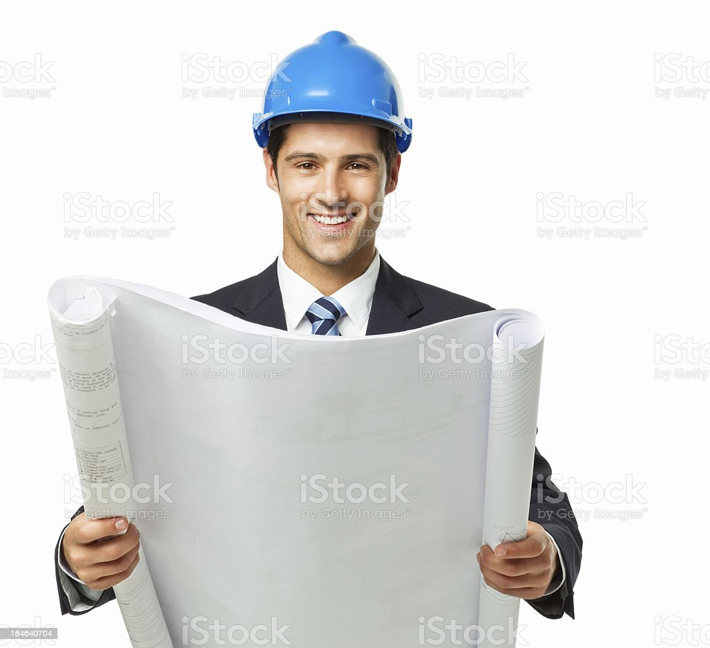 Handsome Young Architect Holding Blueprints - Isolated royalty-free stock photo